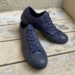 Navy leather low top Converse